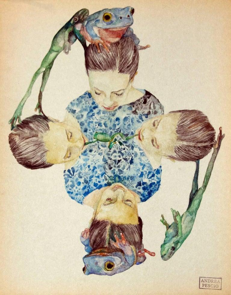 """""""Frog quartet """"    watercolour  cm. 22 x 28    2017"""