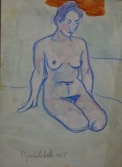 """""""Nude """"watercolor  cm. 24 x 33   1955"""
