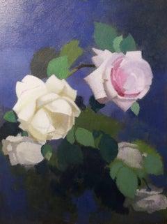 """""""Roses """" Oil   cm. 24 x 31  1915 ca"""