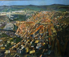 """""""Aerial view of French city"""" Oil cm 73 x 60 1930 ca"""