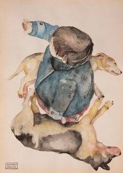 """Sleeping dog  ""    watercolour  cm. 22 x 28    2018"