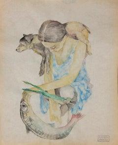 """Tired dog  ""    watercolour  cm. 22 x 28    2018"