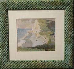 """""""Entrat beach"""" France cm. 20x 18 about 1930 watercolor"""