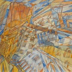 """Futurist city Udine Italy""  cm. 24 x 24  1930"