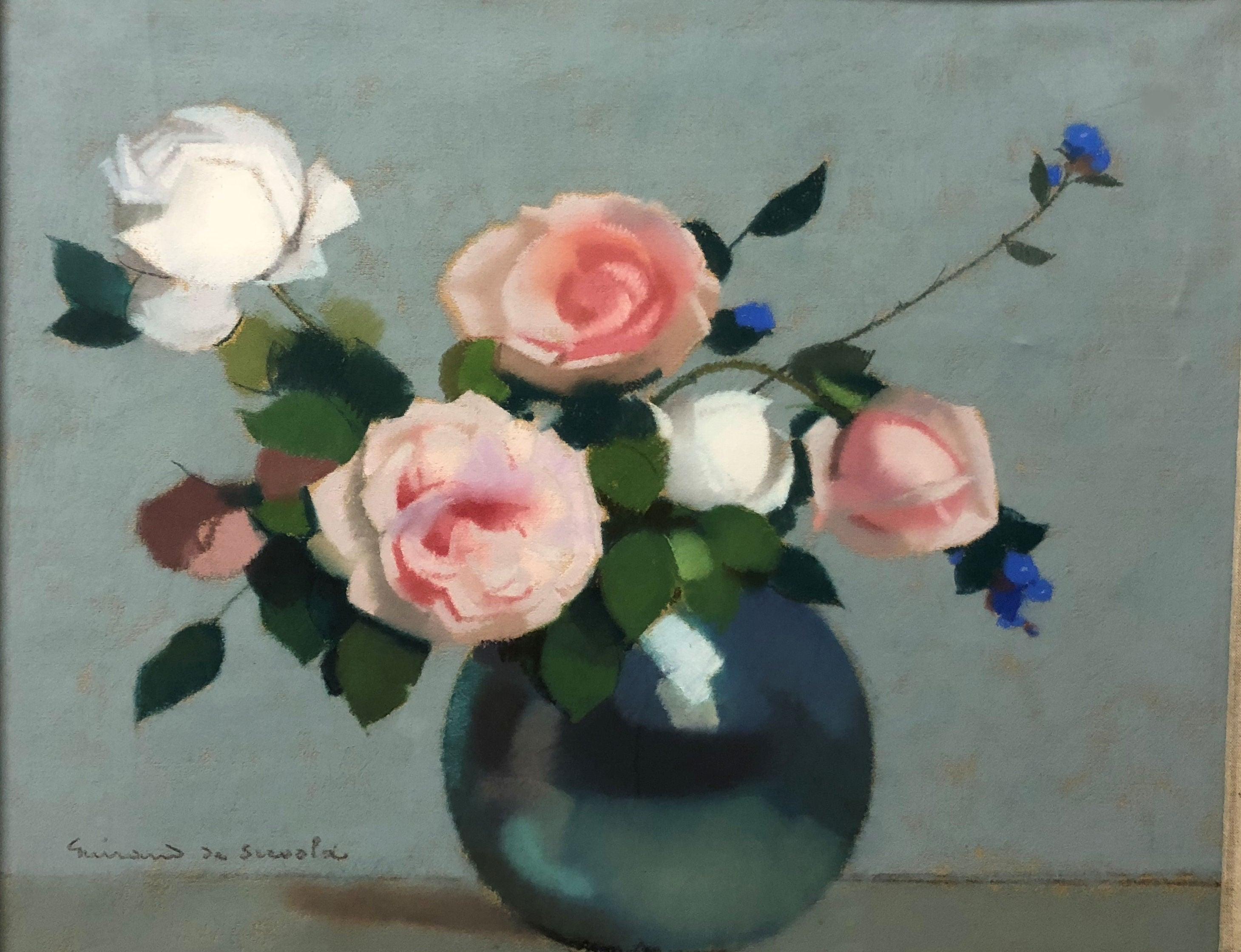 """""""Roses and cornflowers"""" Pastel  cm. 44 x 36     1915 ca"""