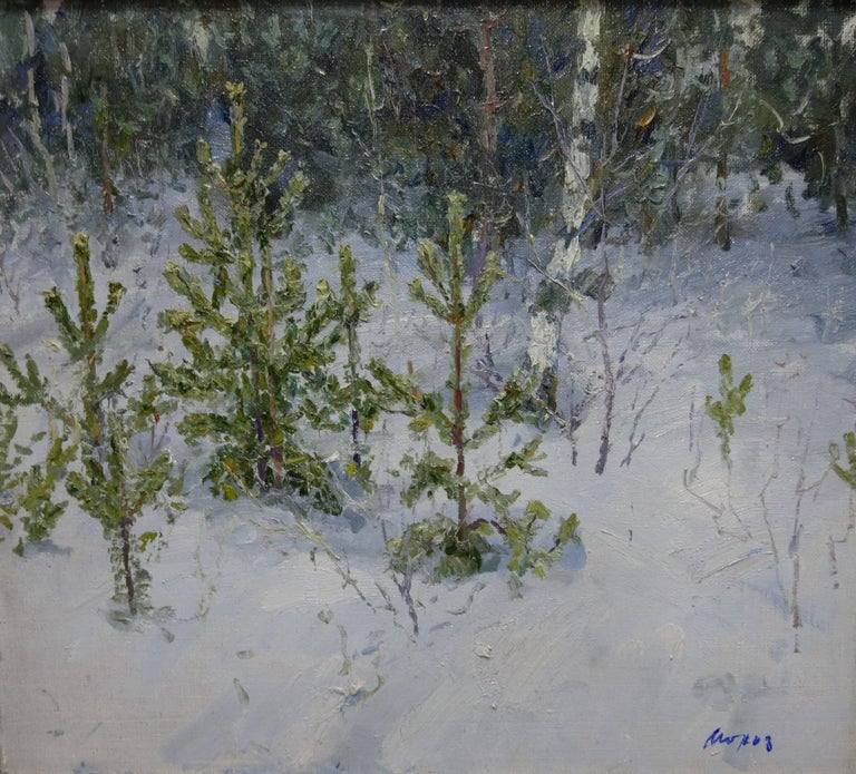 Georgij Moroz Landscape Painting - Fir trees in the forest - Oil, cm. 70 x 62, 1996