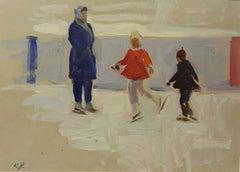 """""""Skaters """" Oil cm. 47 x 33  1950"""