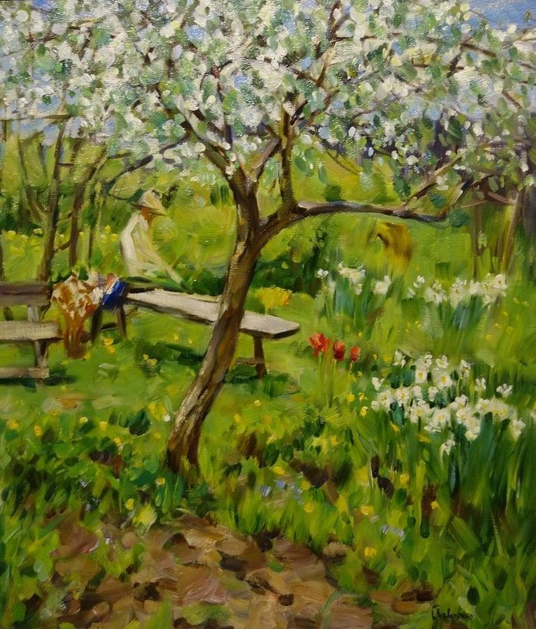 "Boris LAVRENKO Landscape Painting - ""Trees in bloom in my garden  ""  Oil cm. 70 x 60"