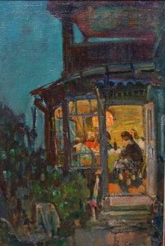 """""""Illuminated house,Dacia """"  oil  cm. 45 x 66  1994"""
