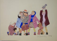 """""""Squirrels and little girls""""  cm . 20 x 27  watercolor 1956"""