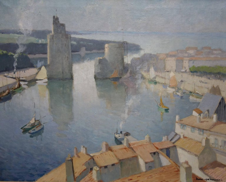 "Henry Maurice CAHOURS Landscape Painting - "" Port La Rochelle France""Boats, France, harbor oil  cm. 81 x 65   1930ca"