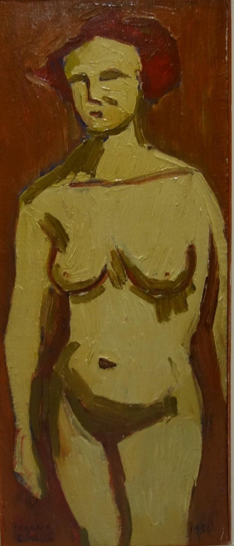 "Edgardo Corbelli Nude Painting -  "" Orange Nude ""Oil  cm. 25 x 60   1952"