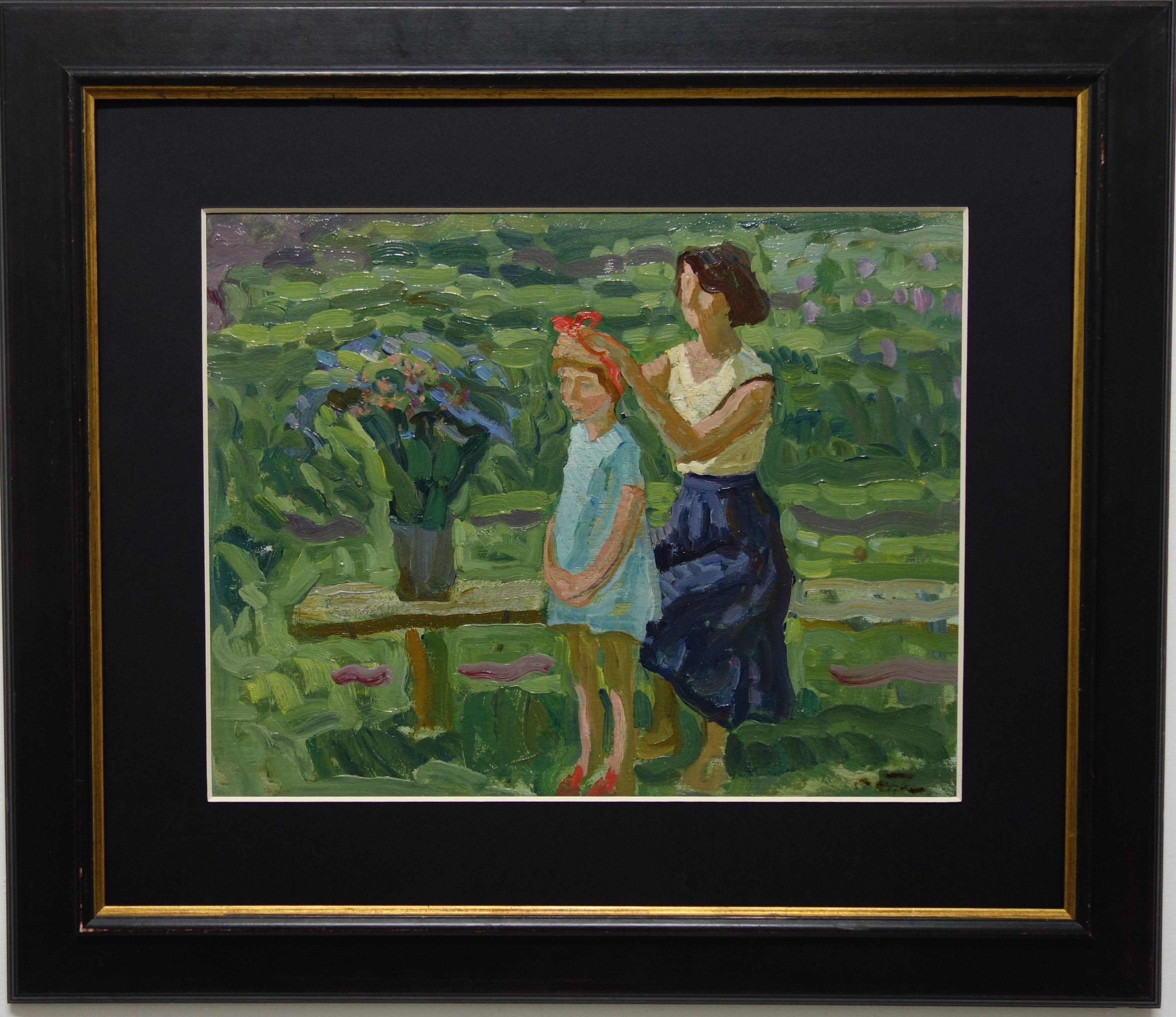 """""""The braid """" Mother's Day,Little Girl,Child  Oil  cm. 44 x 34  1984"""