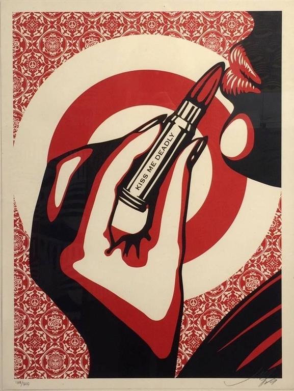 Shepard Fairey Kiss Me Deadly Pattern Print At 1stdibs