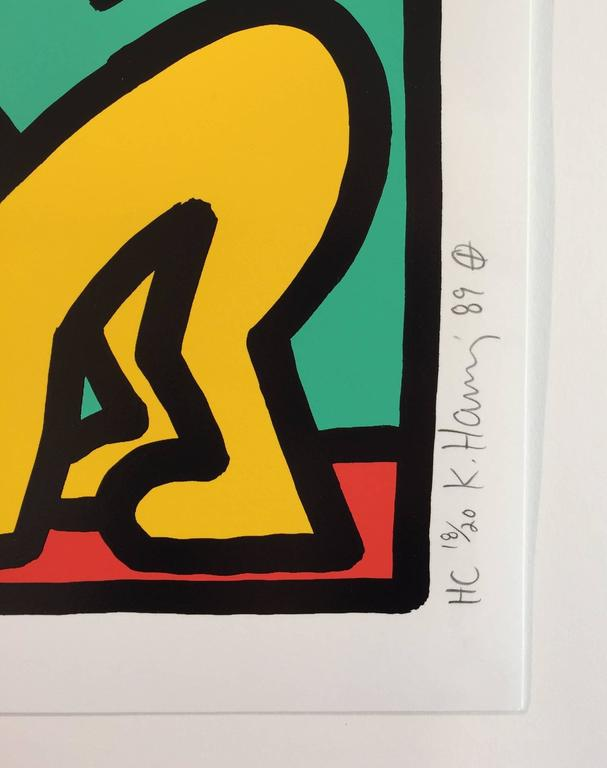 Pop Shop III D - Beige Figurative Print by Keith Haring