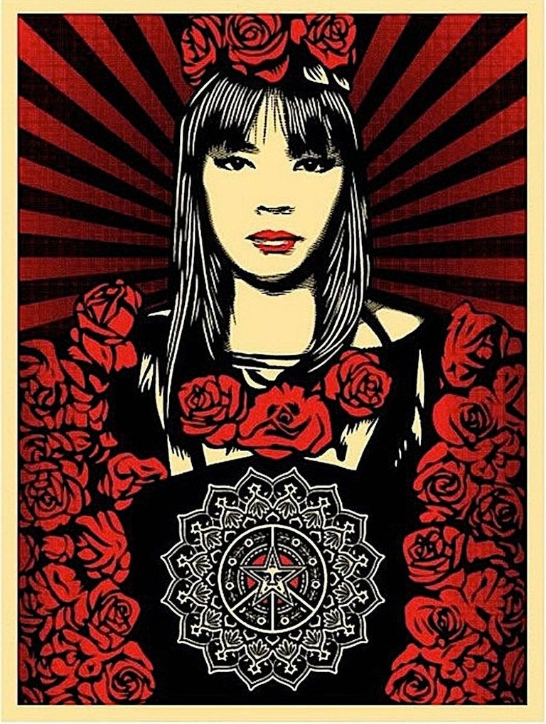 Shepard Fairey - Rose Girl, Print For Sale at 1stdibs  Shepard Fairey ...