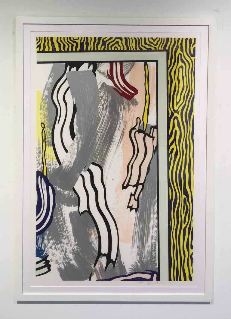 Roy Lichtenstein Print - Painting on Blue and Yellow Wall