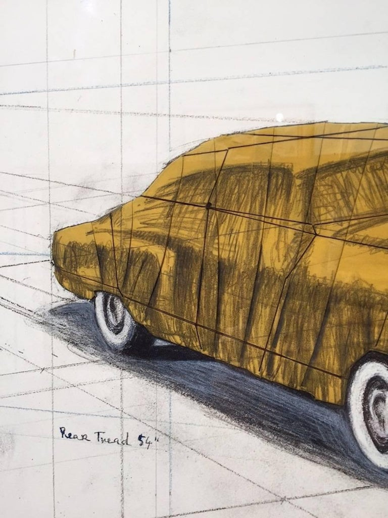 TECHNICAL INFORMATION:  Christo Wrapped Automobile 2015 Lithograph and collage elements of fabric and string 17 x 21 in. Edition of 200 Pencil signed, dated and numbered upper right  Accompanied with COA by Gregg Shienbaum Fine Art   Condition: This
