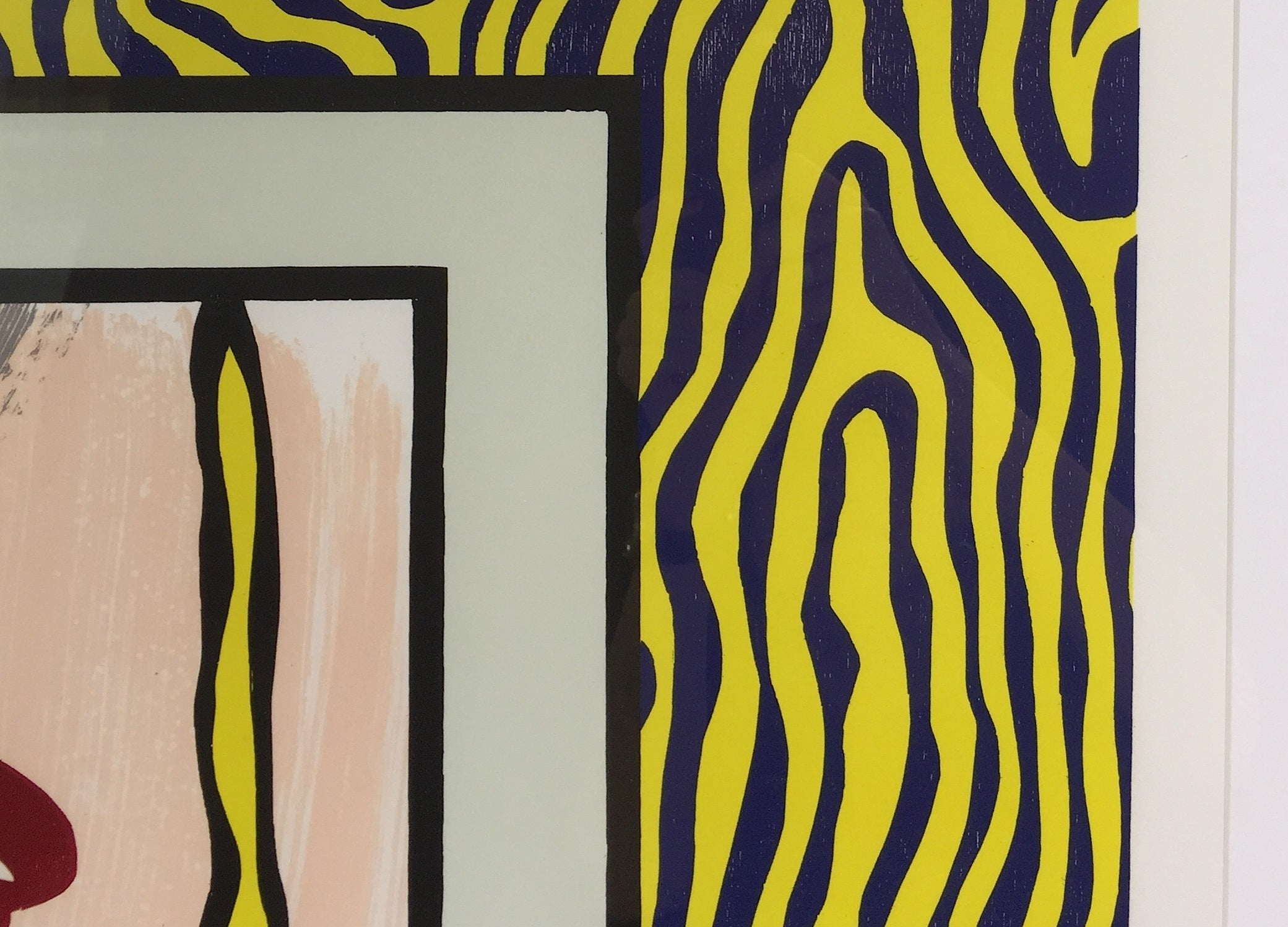 Roy Lichtenstein - Painting on Blue and Yellow Wall, Print For Sale ...
