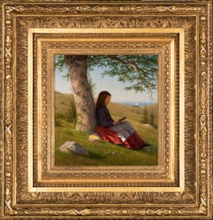 Young Girl Reading by a Tree