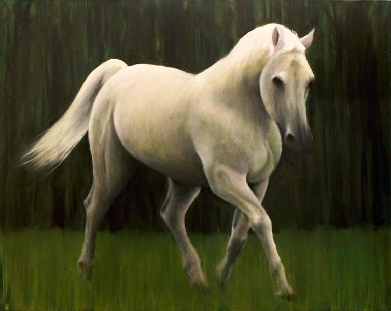 Roger Bole Animal Painting - White Horse in a Green Field