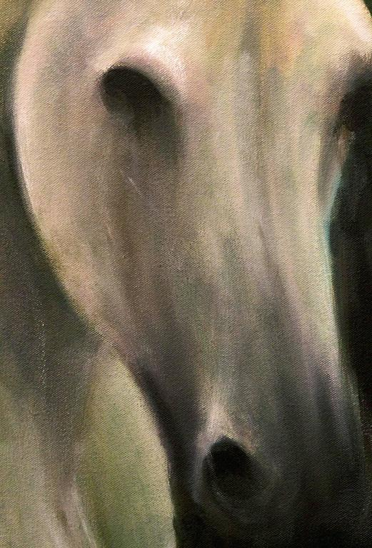 White Horse in a Green Field - Painting by Roger Bole