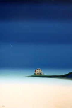 Tonight - Acrylic Surrealist Painting Landscape In Blues