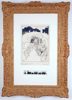 An original British early 20th Century drawing by illustrator Heath Robinson