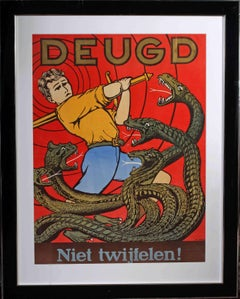 Original 1930s Dutch propaganda poster by M. Deleu (Virtue - do not doubt)