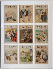 Set of 9 magazine covers from the French Belle Epoque publication 'le rire'