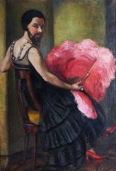 A bearded lady holding an Ostrisch Feather Fan