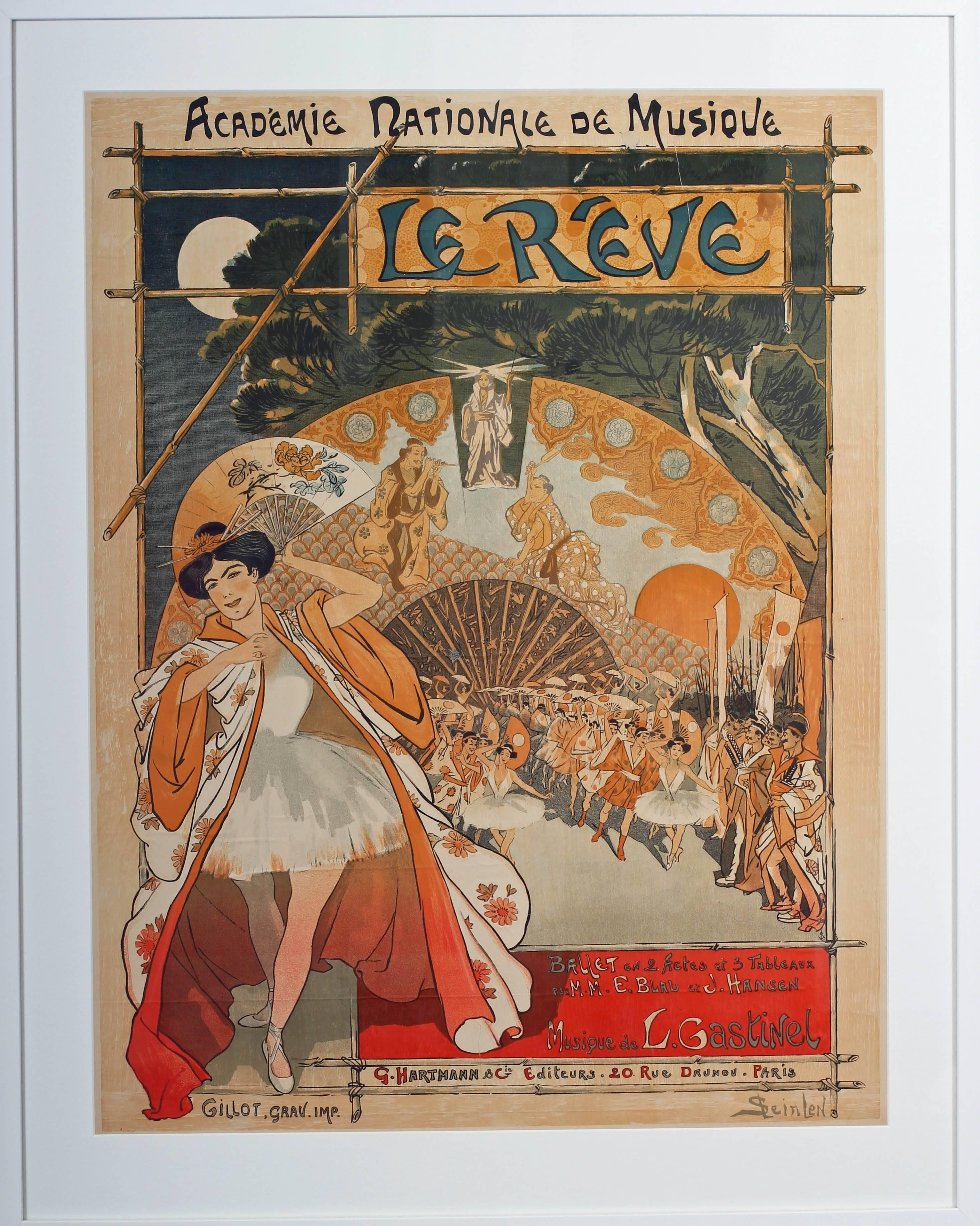 Original French early 20th Century Theatre poster of 'Le Reve'