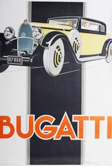 An original 80's restrike of Rene' Vincent's poster for Bugatti