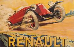 An original 1920's advertising poster for a type 45 Renault