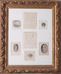 5 intaglio engravings with accompanying letter, 1765 from Mr Worlidge of Bath