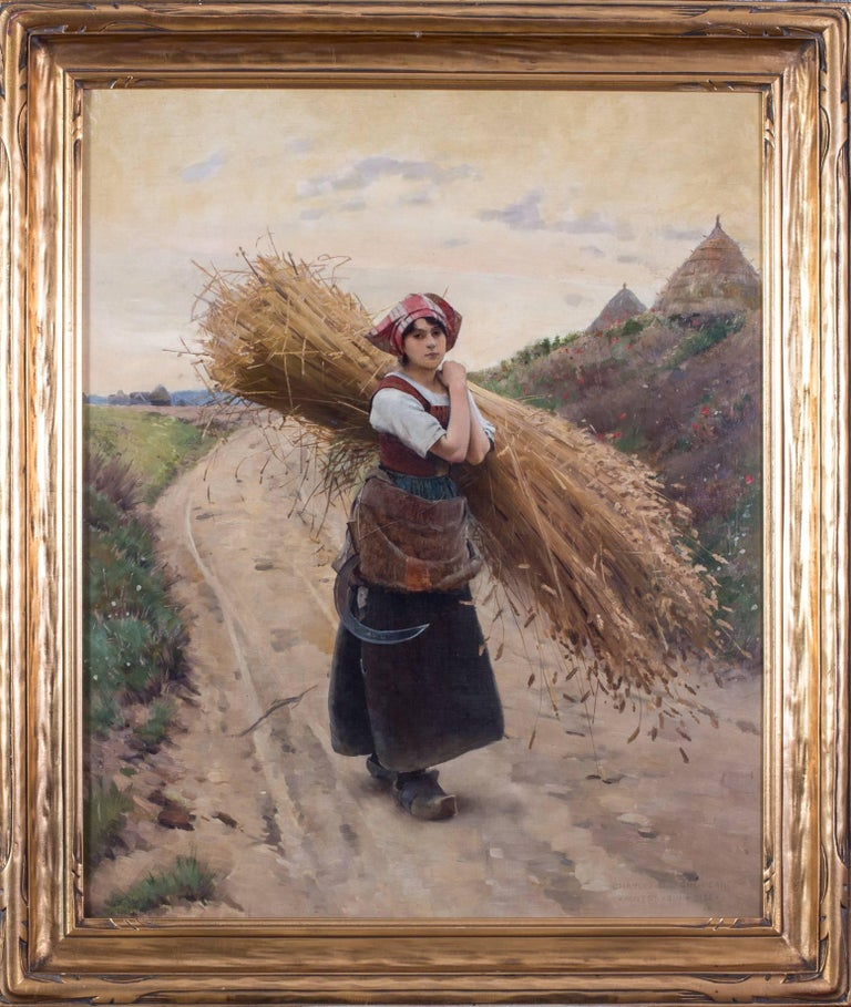 La petite moissoneuse - American Realist Painting by Charles Sprague Pearce
