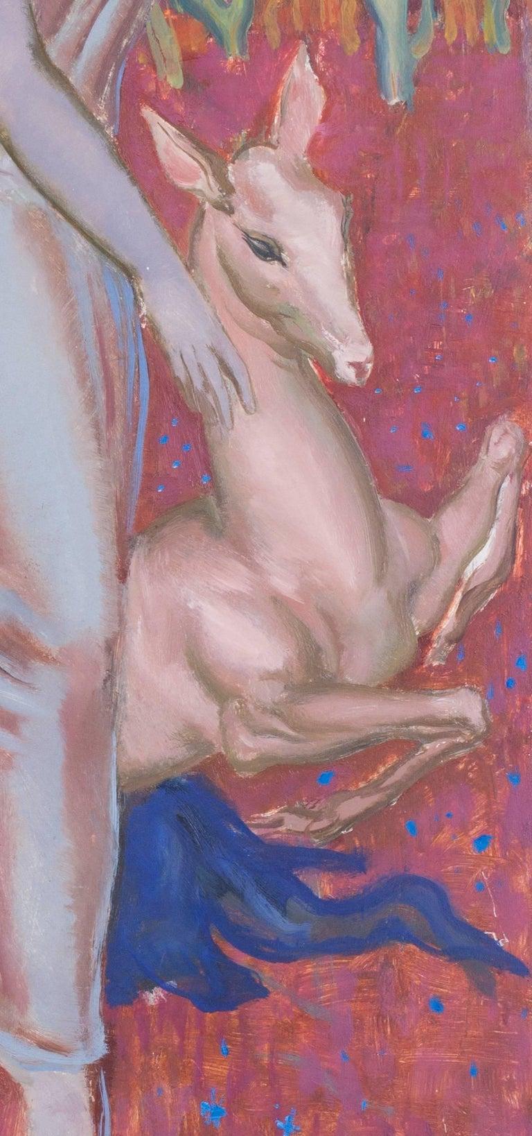 Femme a la biche - Painting by Paul Mantes