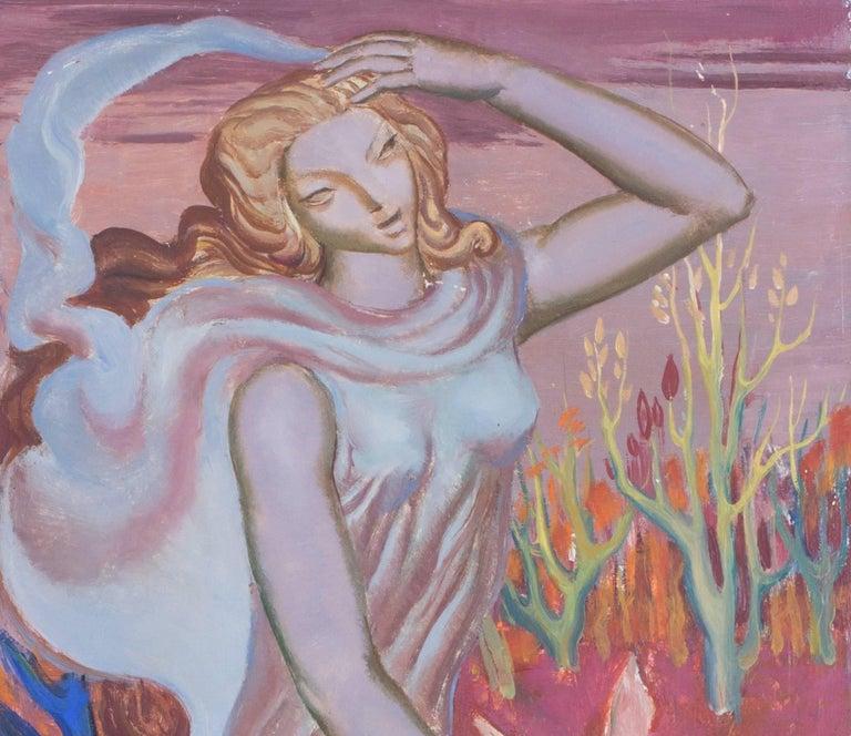Femme a la biche - Art Deco Painting by Paul Mantes