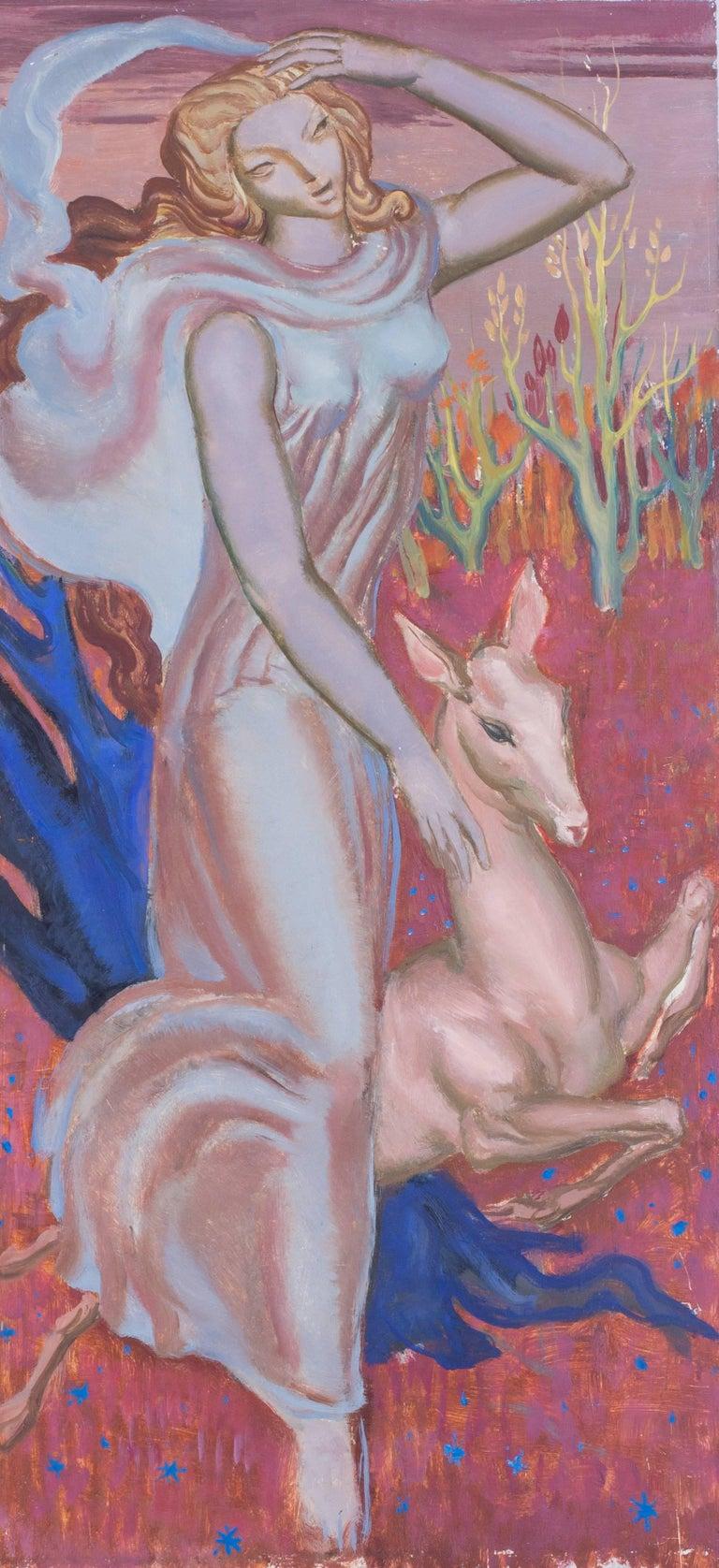 Paul Mantes Figurative Painting - Femme a la biche