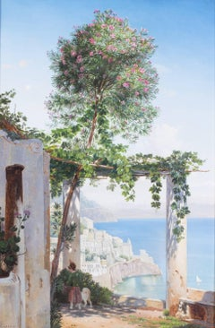 19th Century Danish original oil painting of the Amalfi coast, Italy