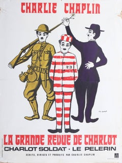 An advertising poster for Charlie Chaplin's film 'La Grande Revue de Charlot'