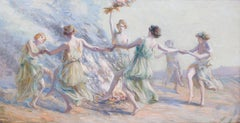 Spring maidens dancing around a fire