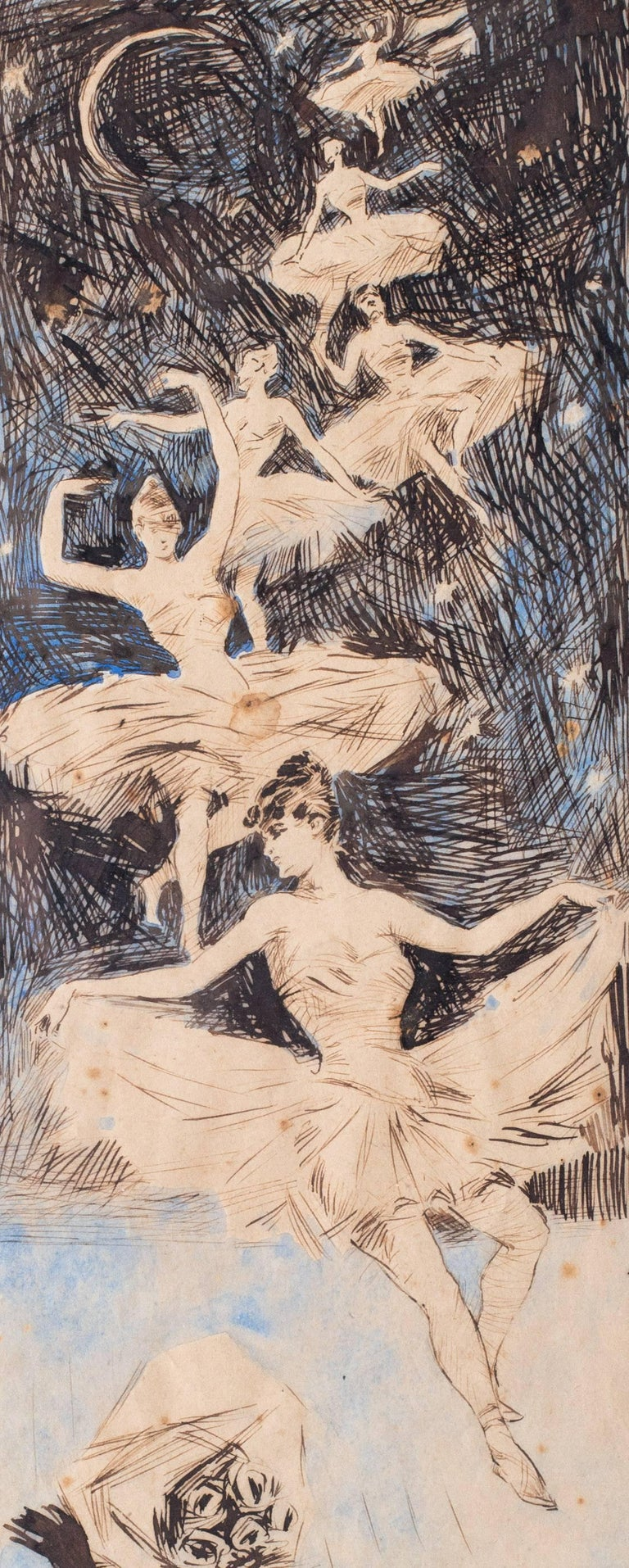 Attributed to Jules Cheret (French 1836 - 1932) A Ballerina dream sequence, Circa 1900s A beautifully delicate art nouveau depiction of ballerinas descending from the starry sky above.   Pen, ink and watercolour on paper 10 x 5.3/8in. (25.4 x
