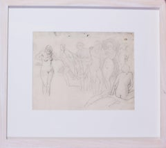 An original French drawing of nude bathers by Post-Impressionist Pissarro