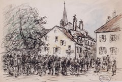A gathering in a market town