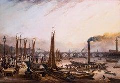 Crowds embarking on a paddle steamer trip before Waterloo Bridge, London