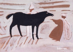 The black horse, a charming and rustic work by the great Mary Fedden