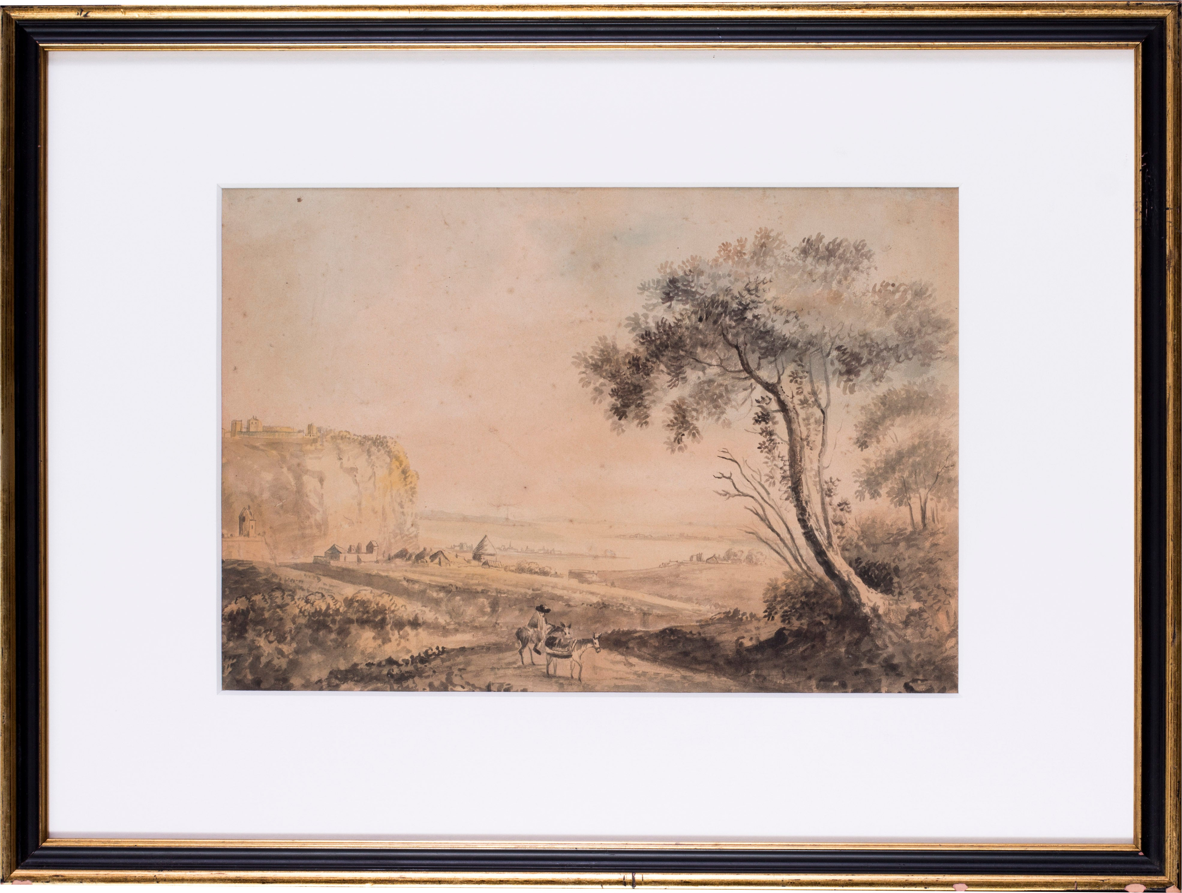 A British 19th Century watercolour of a traveller before a hilltop coastal fort