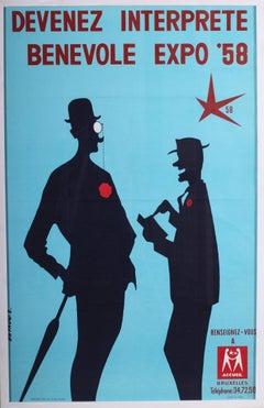 Original vintage poster for Brussels World Fair in 1958