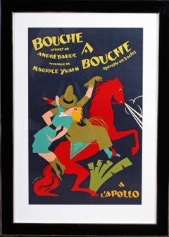 1925 original theatre poster for the production of 'Bouche a bouche'